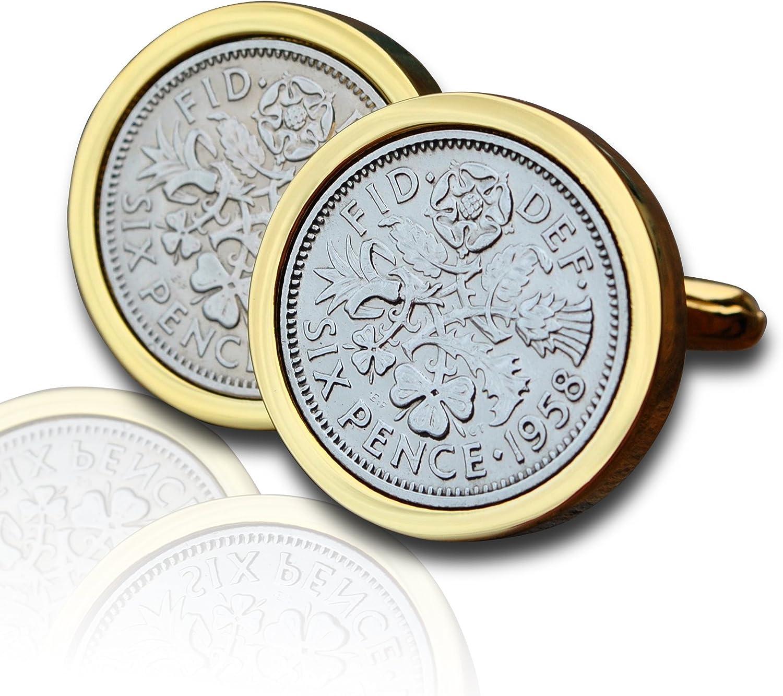 1958 peniques gemelos para monedas oro de publicidad de la marca 58th aniversario con texto en inglés y: Amazon.es: Joyería