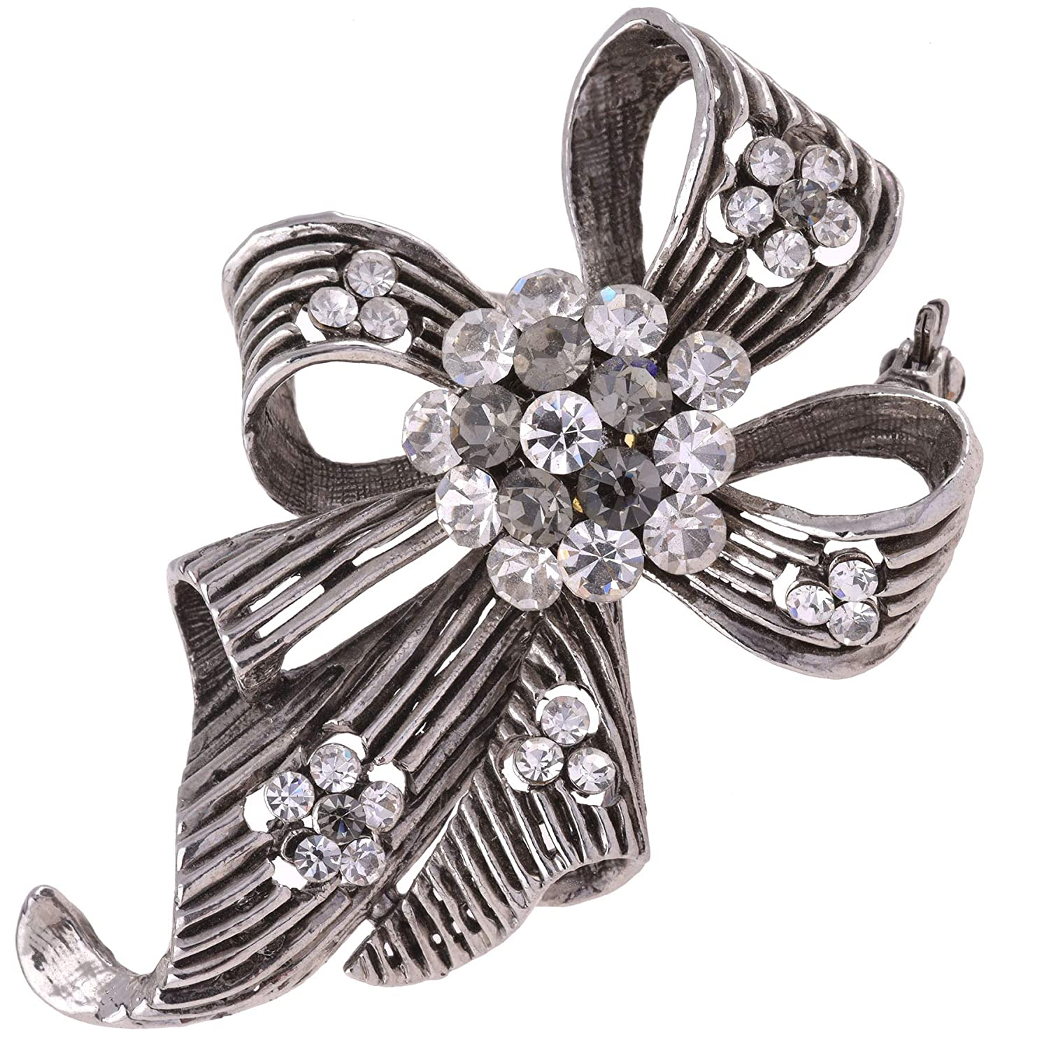 Lisa Hsieh Antique Silver Victorian Inspired Rhinestone Ribbon Bow Brooch