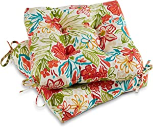 Greendale Home Fashions AZ6800S2-BREEZE Garden Floral Outdoor Dining Seat Cushion (Set of 2)