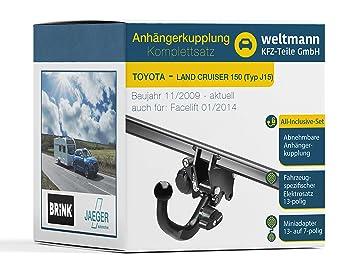 Weltmann Mundo Muñeco AHK Juego Completo Toyota Land Cruiser 150 Tipo J15 Brink Desmontable Remolque + fahrzeugspezifischer Jaeger Automotive eléctrico de ...