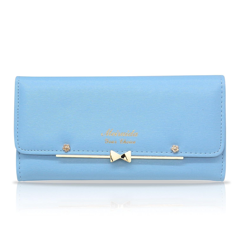 bluee Woolala Women Cute Bowknot Wallet Trifold Large Capacity Long Purse