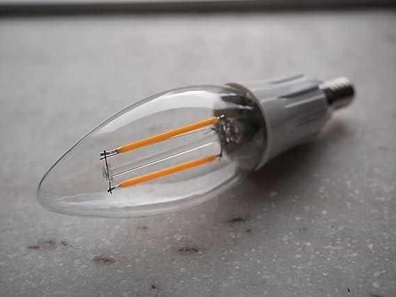 DC 12 Volt Chandelier Cool White 6000k 2W LED Candle Edison Filament C35 Light Bulb E12 MES Mini Base Lamp Low Voltage Ikea Desk Top Outdoor Outside ...