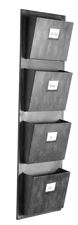 "Linon 4 Slot Hanging Metal Mailbox, 14.5"" W x 4"" D x 46"" H, Gray"