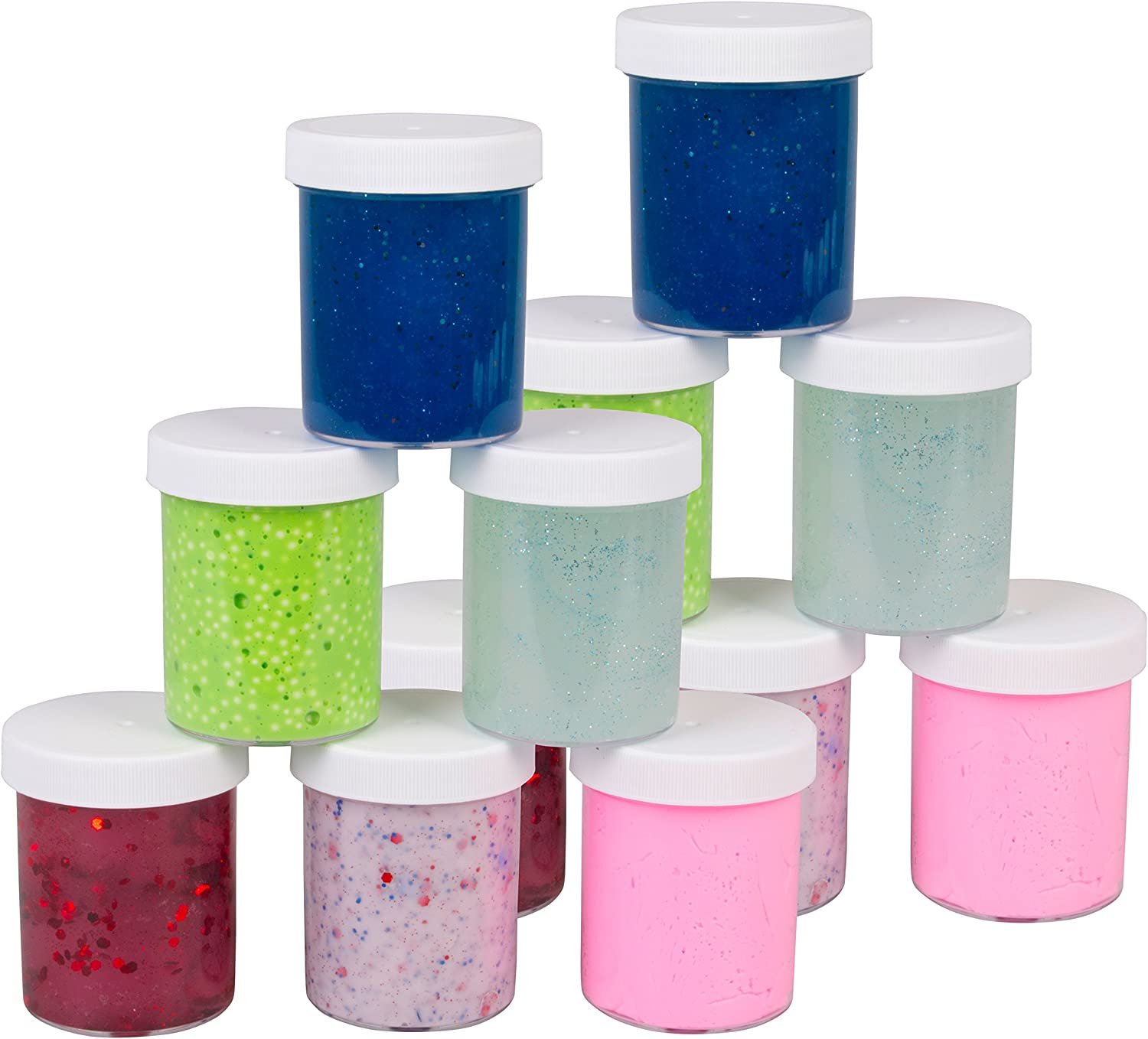 4oz, 12 pk, White Cap Maddie Raes Slime Storage Jars 4oz Clear Containers for All Your Glue Putty Making