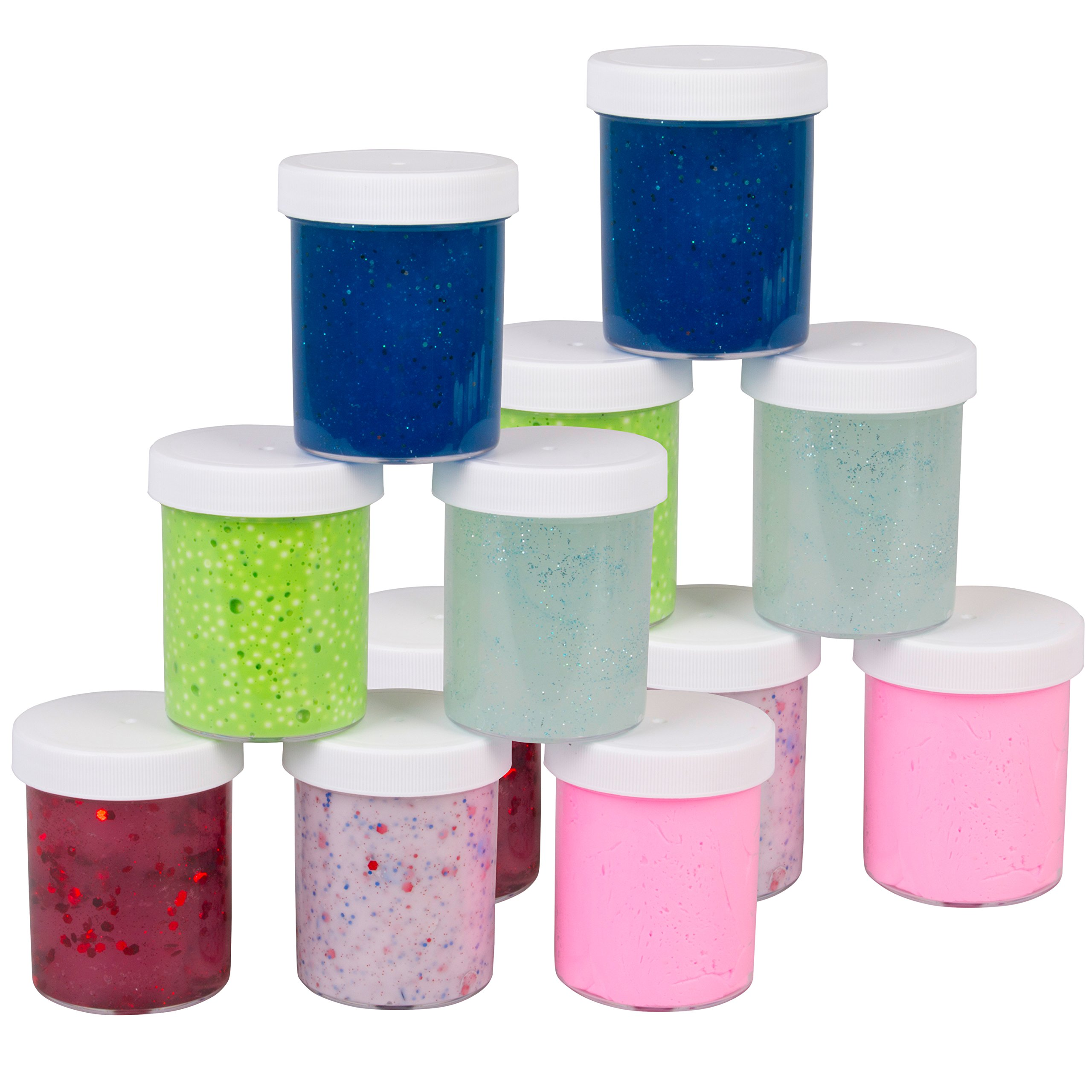 SCS Direct Slime Storage Jars 4oz (12 Pack) - Maddie Rae's Clear Containers For All Your Glue Putty Making