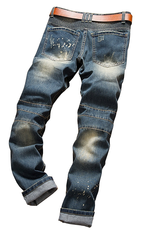 Toping Fine Fashion;Handsome Men's Ripped Slim Straight fit Biker Jeans with Zipper Deco 01 Dark Blue28W x 31L