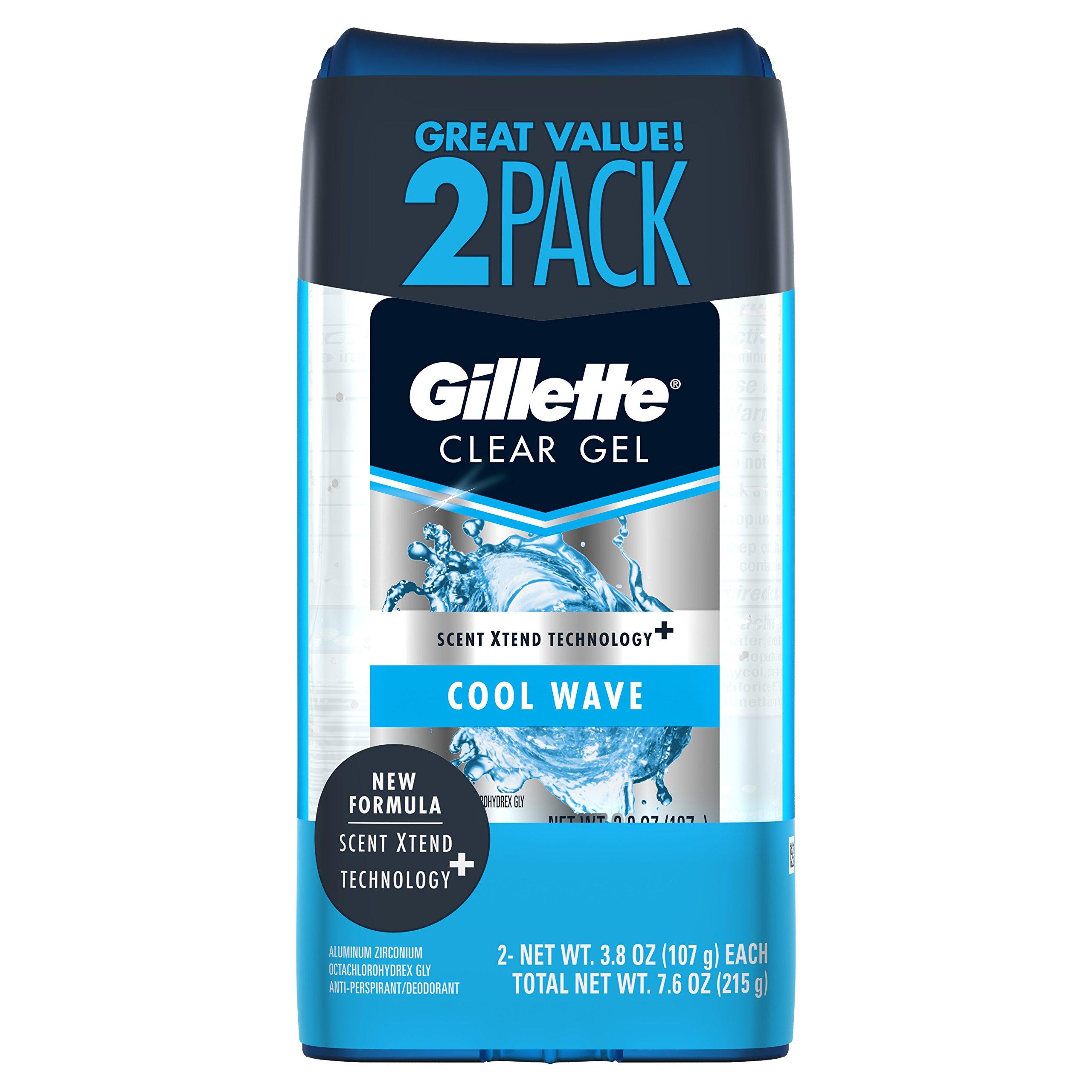 Gillette Antperspirant Deodorant for Men, Cool Wave Scent, Clear Gel, 3.8 oz (Pack of 2)