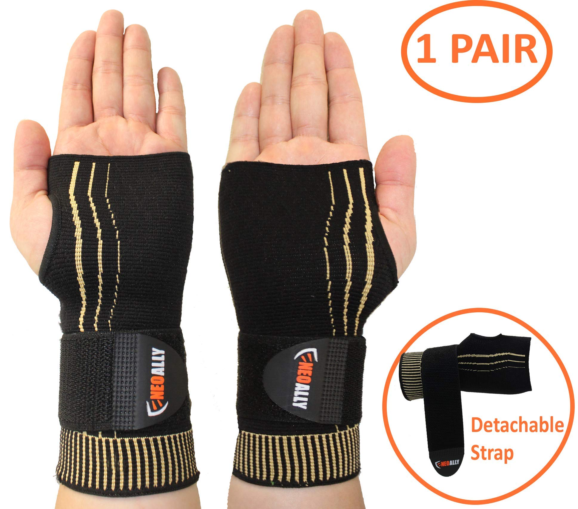 NeoAlly Adjustable Wrist Support Sleeve - Copper Compression Carpal Tunnel Gloves for Arthritis, Tendonitis, Bursitis and Wrist Sprain Large (1 Pair)
