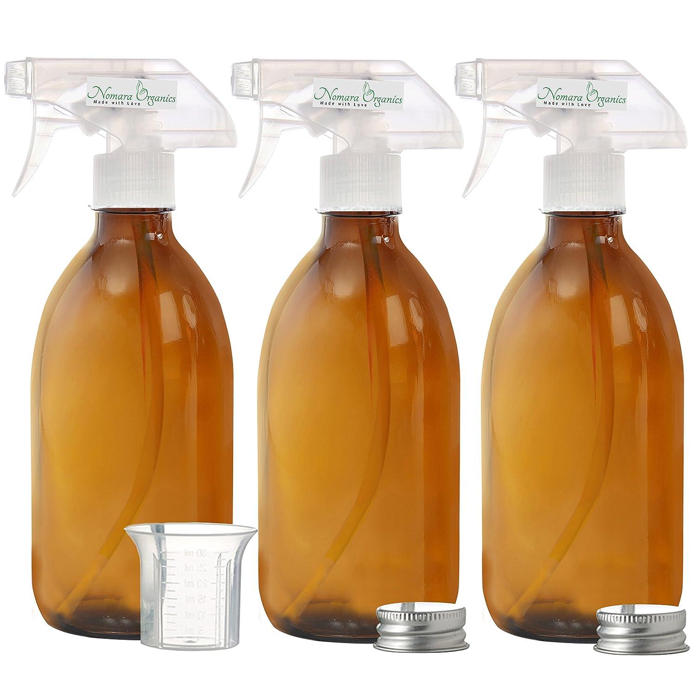 Nomara Organics(TM) - Botella de cristal de ámbar de 500 ml sin BPA Pack de 3 botellas de cristal ámbar con protección contra fugas, antigoteo, sin BPA, pulverizador/atomizador + 1 vaso graduado sin BPA + 2 tapas de plata a prueba de fugas, multiusos, reca