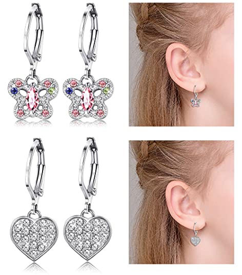 ORAZIO Earrings for Girls Heart Butterfly Drop Dangle Earrings for Kids Baby Leverback