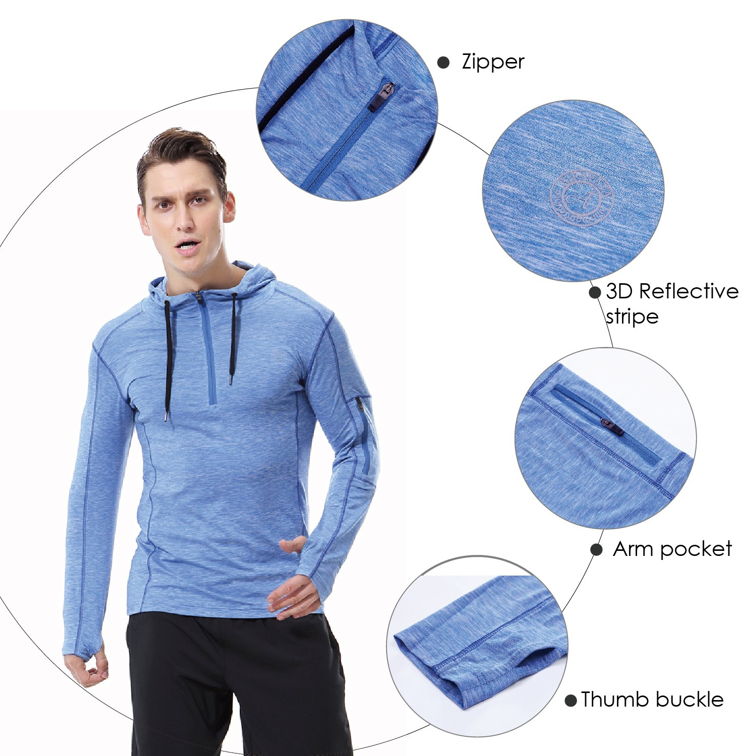AIRAVATA Mens Hoodies Zip Up Slim Fit Lightweight Long Sleeve Workout Hoody Jacket