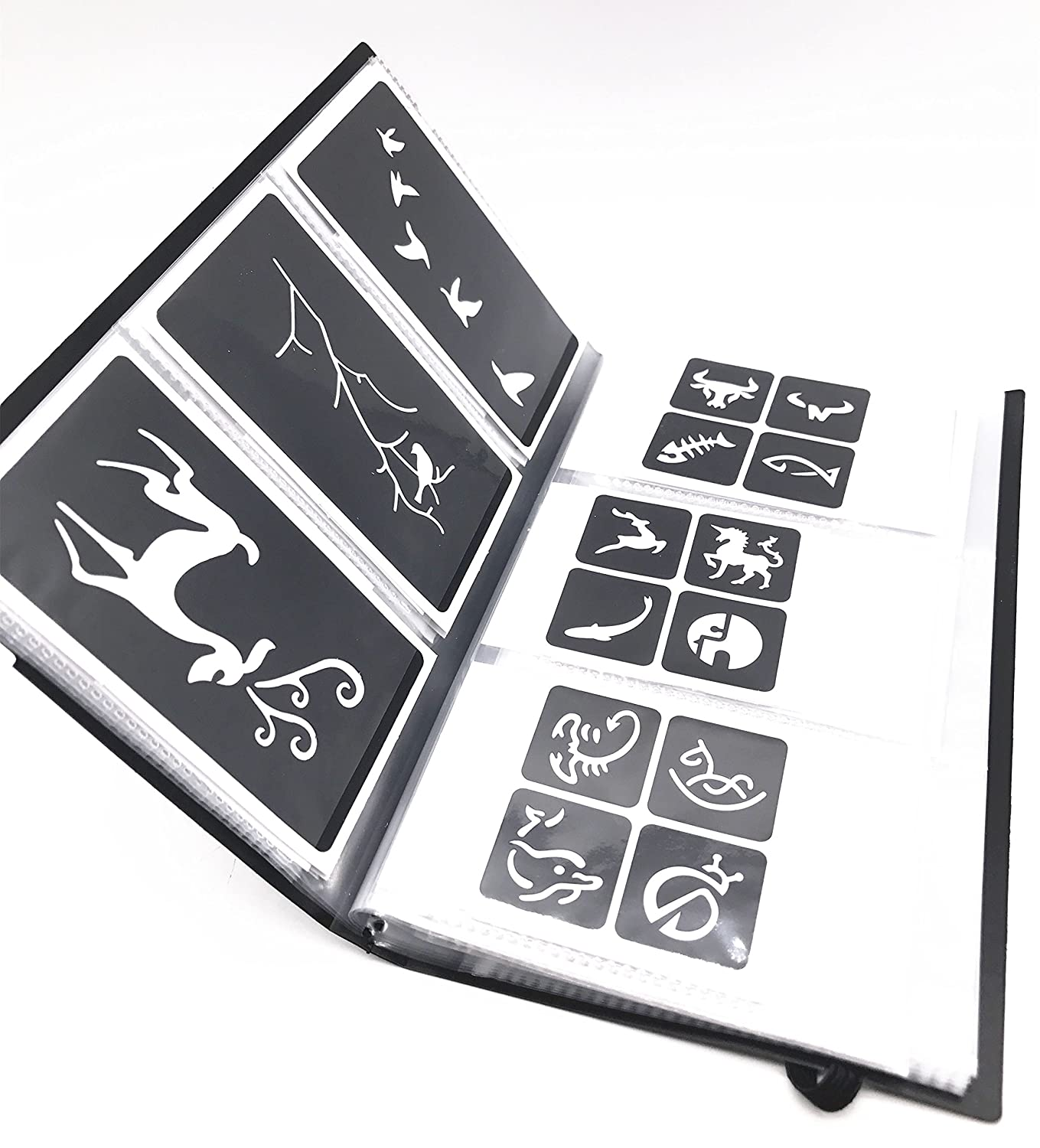 Tattoo Stencil - Various patterns - New Henna Designs- 63pcs (Include a Storage Book) Lady Seven