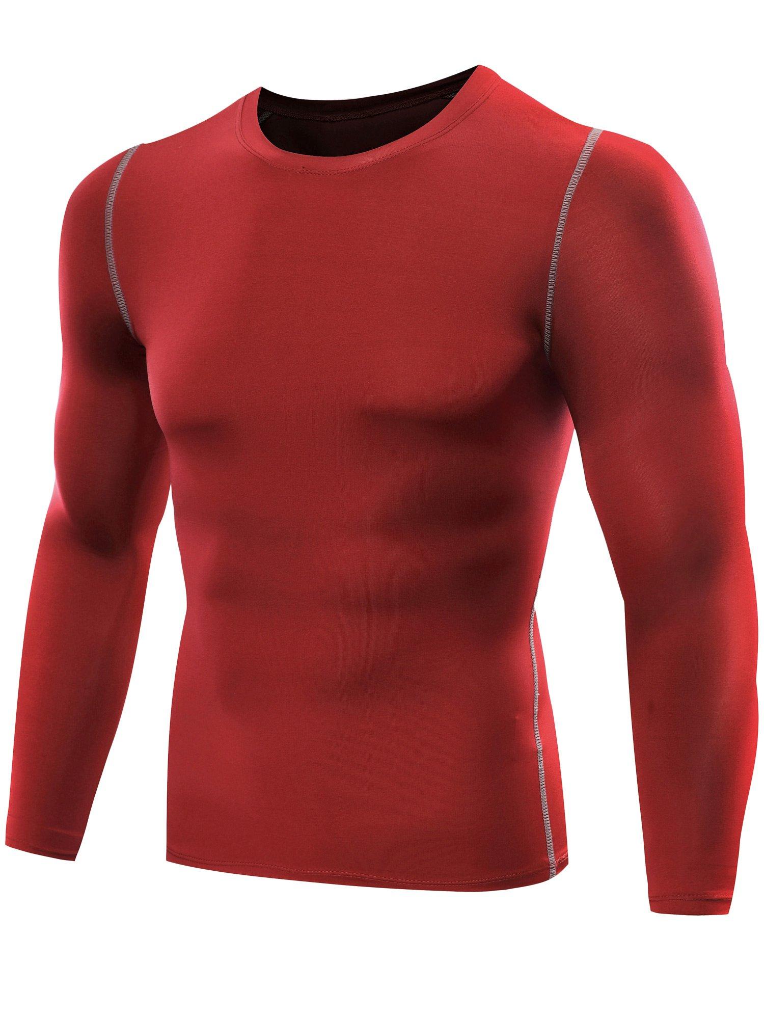 df70b438f79b Galleon - Neleus Men's 3 Pack Athletic Compression Sport Running T Shirt  Long Sleeve Base Layer,Grey,Blue,Red,Medium