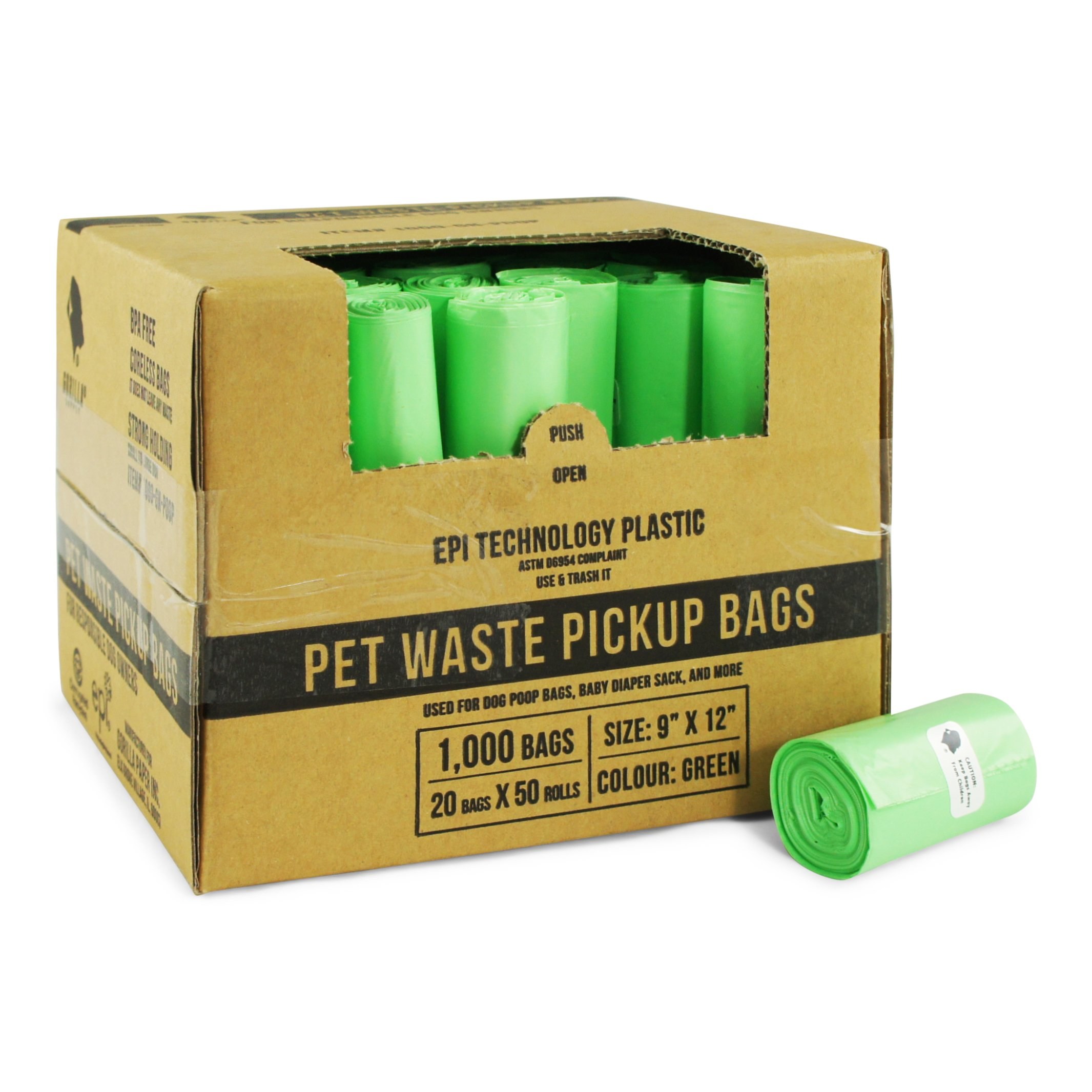 Gorilla Supply 1000 Green Dog Pet Poop Bags, EPI Technology, 50 Refill Rolls