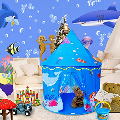 ALPIKA Castle Play Tent Mermaid Indoor and Outdoor Kids Playhouse with Carrying Bag for Children (Ocean-Blue): Toys & Games