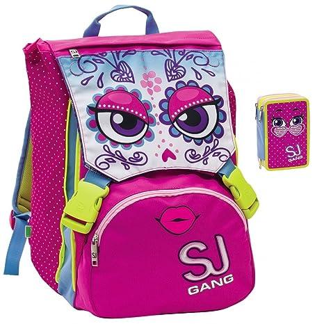 7bdd79e8b7 Sj Gang - Zaino Scuola SEVEN Sdoppiabile SJ Girl Faccine Flip System con  Astuccio (Rosa