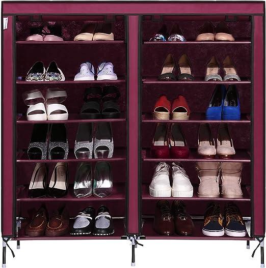 Double Rows Home Shoe Rack Shelf Storage Closet Organizer Cabinet Portable Cover