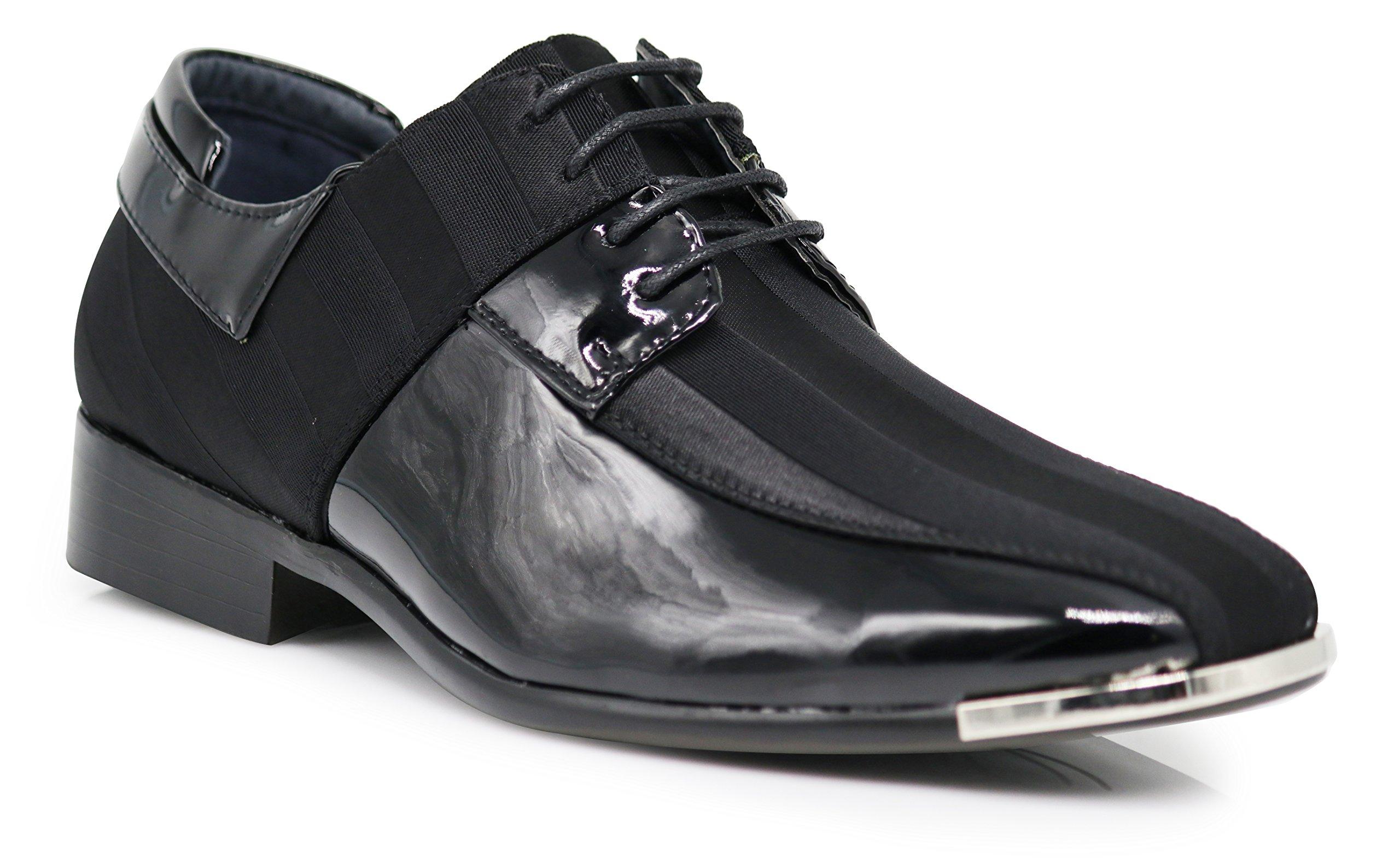 JY5N Men's Satin Metal Silver Tip Oxfords Tuxedo Dress Shoes Stripes Church Wedding Party Groomsmen Oxfords Dress Shoes (12 D(M) US, Black)