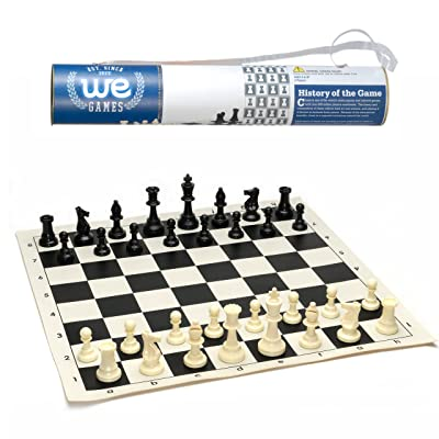 WE Games Roll-up Travel Chess Set in Carry Tube with Shoulder Strap - A Great Beginner Chess Set: Toys & Games