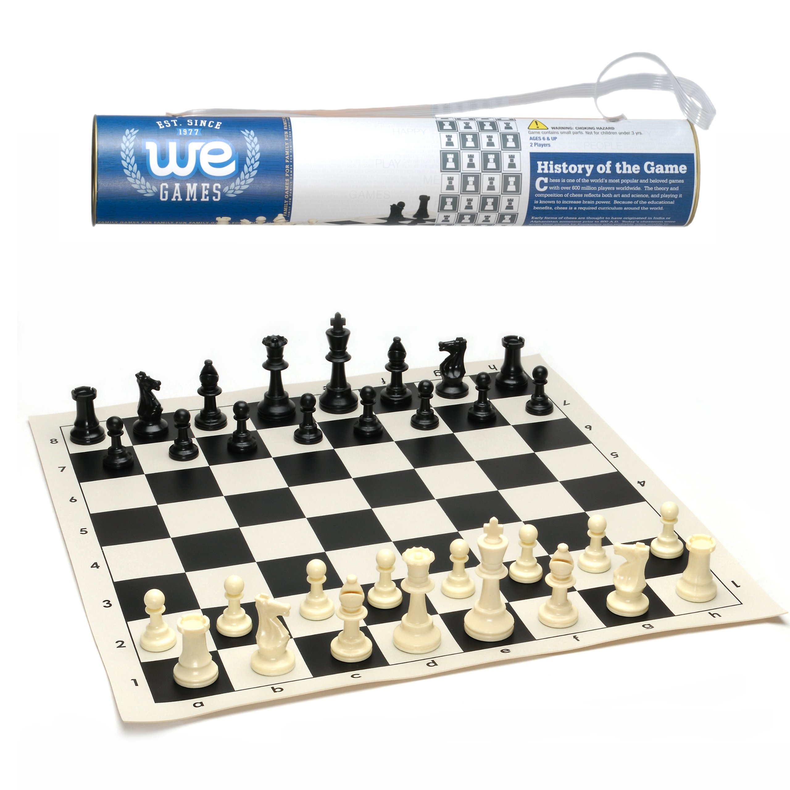WE Games Roll-up Travel Chess Set in Carry Tube with Shoulder Strap - A Great Beginner Chess Set