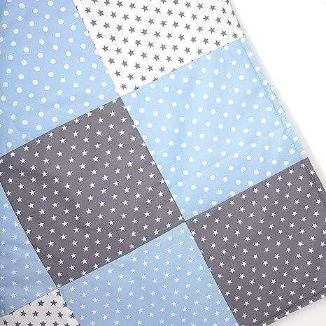 Sugarapple Patchwork Decke Stoffe Paket zum Nähen, Set Patchwork Stoffe für Baby und Kinder, im Mix hellblau und grau, aus Vier Baumwollstoffen und