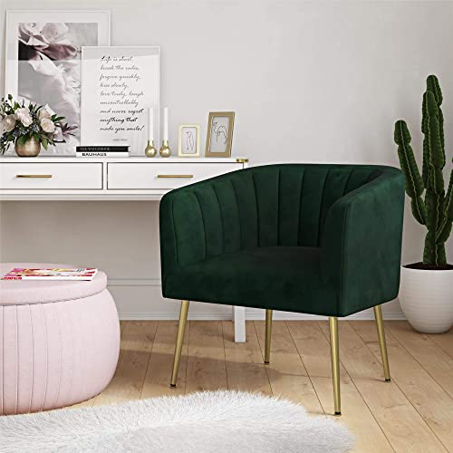 CosmoLiving by Cosmopolitan Owsley Modern Green Velvet Fabric Plush Accent Chair with Gold Legs