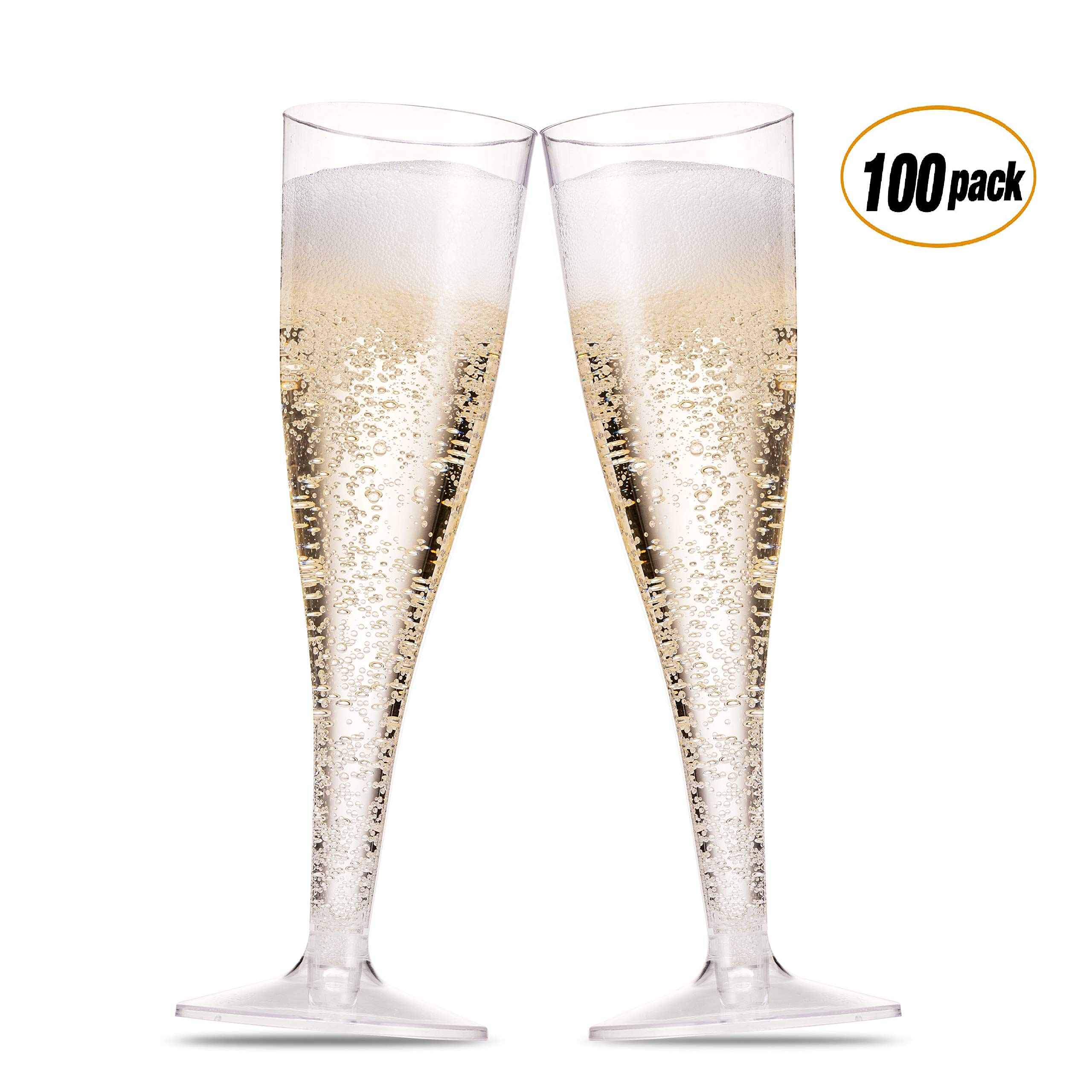 100 Pack Plastic Champagne Flutes ~ 5 Oz Clear Plastic Toasting Glasses ~ Disposable Wedding Thanksgiving Party Cocktail Cups