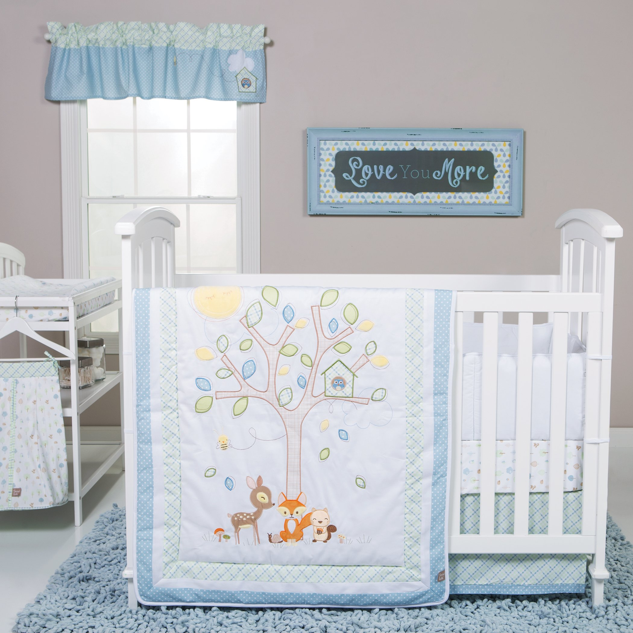 Trend Lab Forest Tales 6 Piece Crib Bedding Set, White/Blue/Green/Yellow