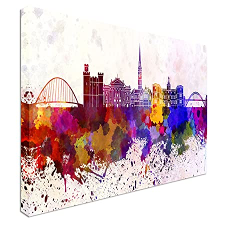 Newcastle skyline in watercolor 40x20inches 44d9359f0