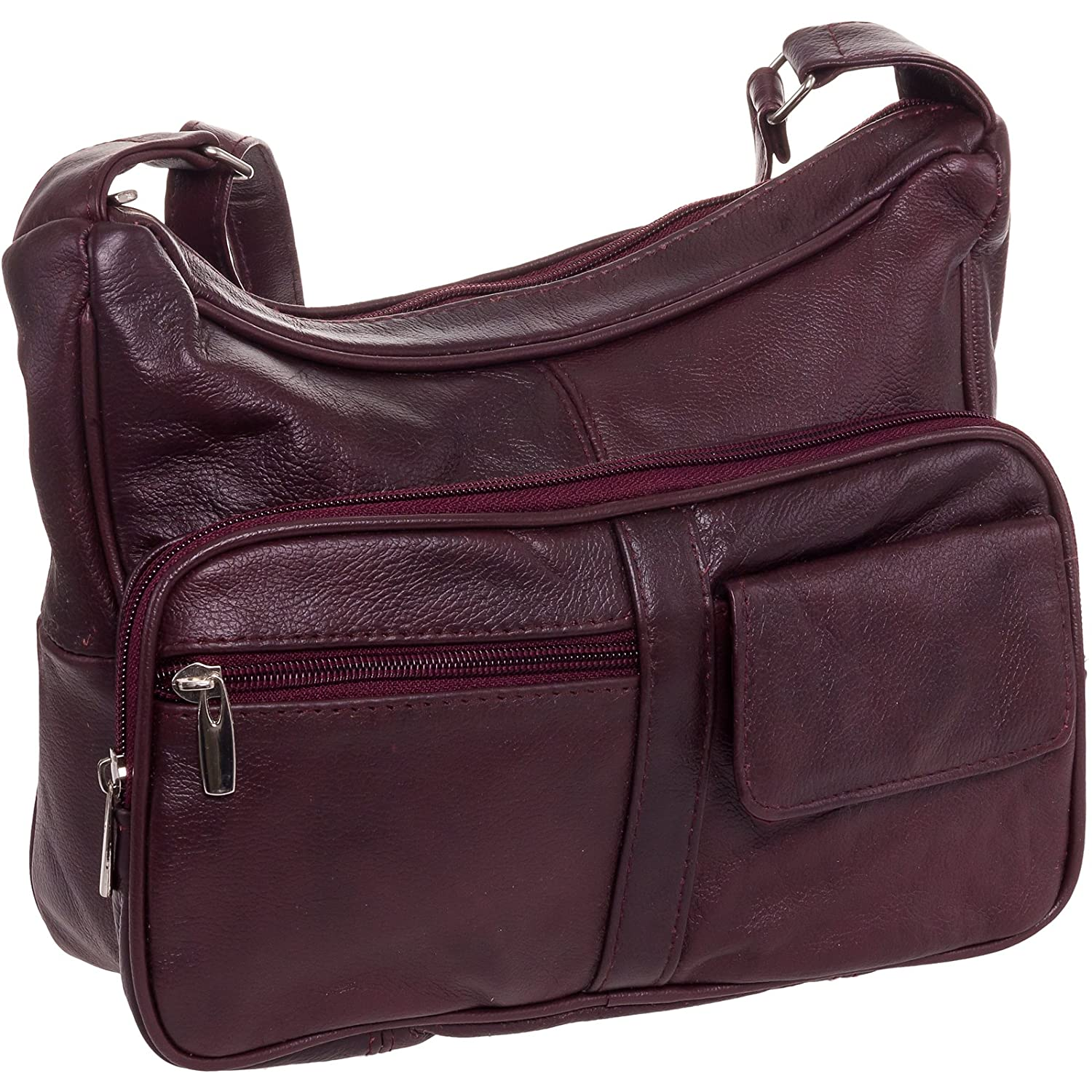95061363a4b5 Roma Leathers Women's Wine Red Leather Crossbody Shoulder Bag