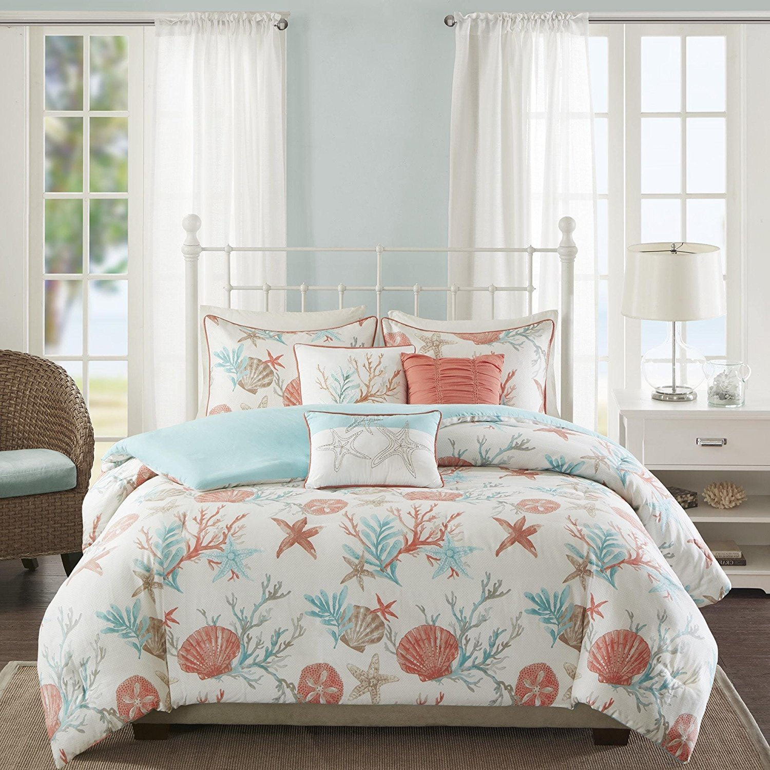 6pc Pink Coastal Full Queen Size Duvet Cover Set, Beach House Themed Bedding Coral Reefs Sea Shell Star Fish Ocean Vacation Sand Nautical Lake Cottage, Cotton