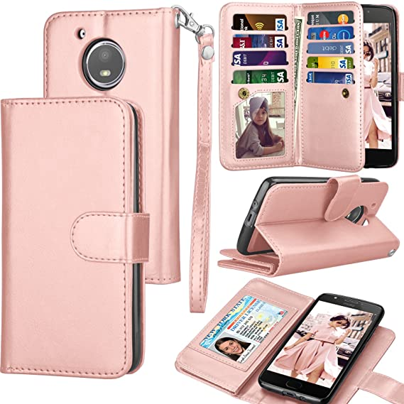 timeless design a7dc4 fb71b Moto E4 Case, Moto E4 Wallet Case, 2017 Motorola Moto E 4th Gen PU Leather  Case, Tekcoo Luxury Cash Credit Card Slots Holder Carrying Flip Cover ...