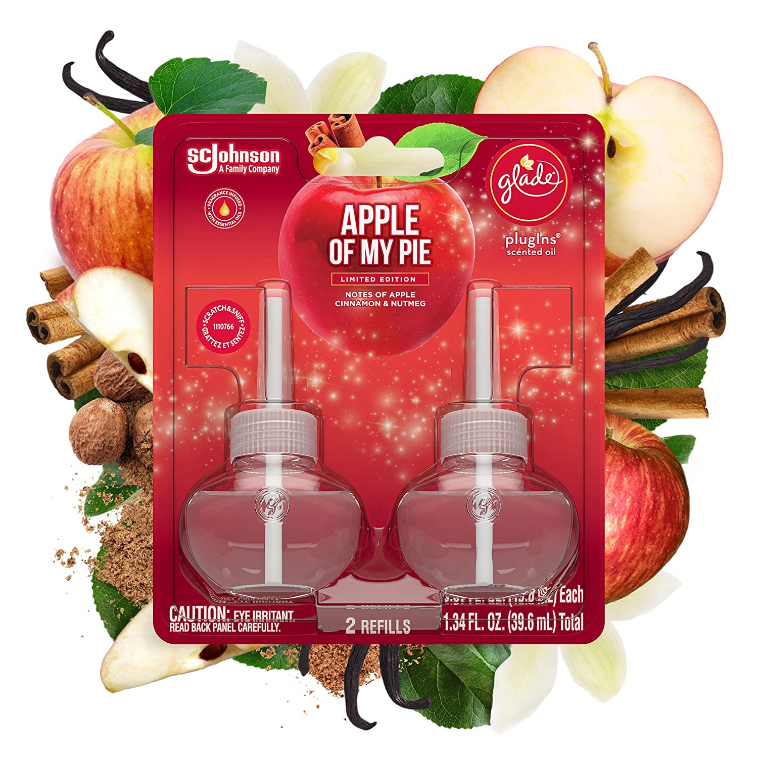Glade PlugIns Refills Air Freshener, Scented and Essential Oils for Home and Bathroom, Apple of My Pie, 1.34 Fl Oz, 2 Count