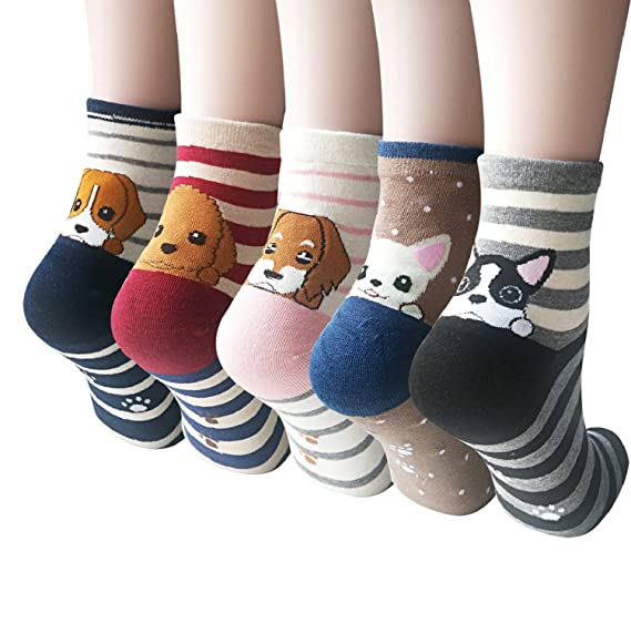Womens Cute Animal Painting Socks, Funny and Cool 100% Cotton Art Dog Socks for