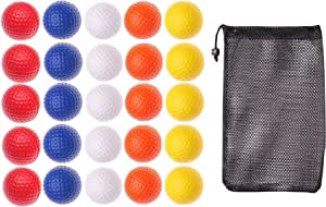 Plastic Practice Golf Training Balls for Indoor Swing Practice Driving Range 25 Pack + Storage Bag
