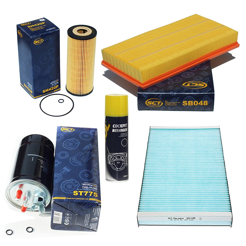Filteristen SCT Germany Paquet d'inspection Filtre à pollen SCT charbon et bioactif Filtre à air Filtre à huile Filtre à carburant Cadeau
