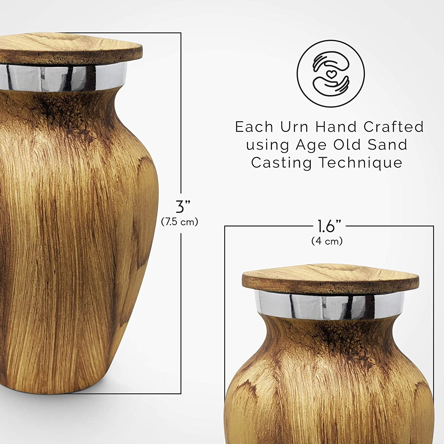 Kc Katie Collection By Urnseller Small Keepsake Cremation Urn For Human Ashes Aluminum With Wood Grain Finish Mini Metal Sharing Personal Funeral Urn For Pet Or Human Ashes Oak Home