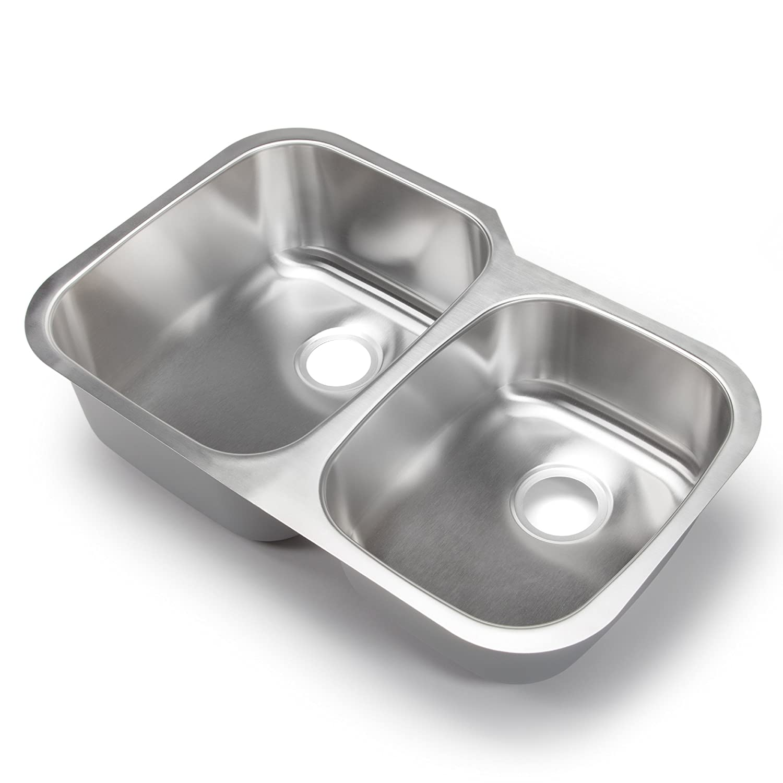 B hahn kitchen sinks Hahn Chef Series SS 32 Inch Undermount 60 40 Double Bowl Amazon com