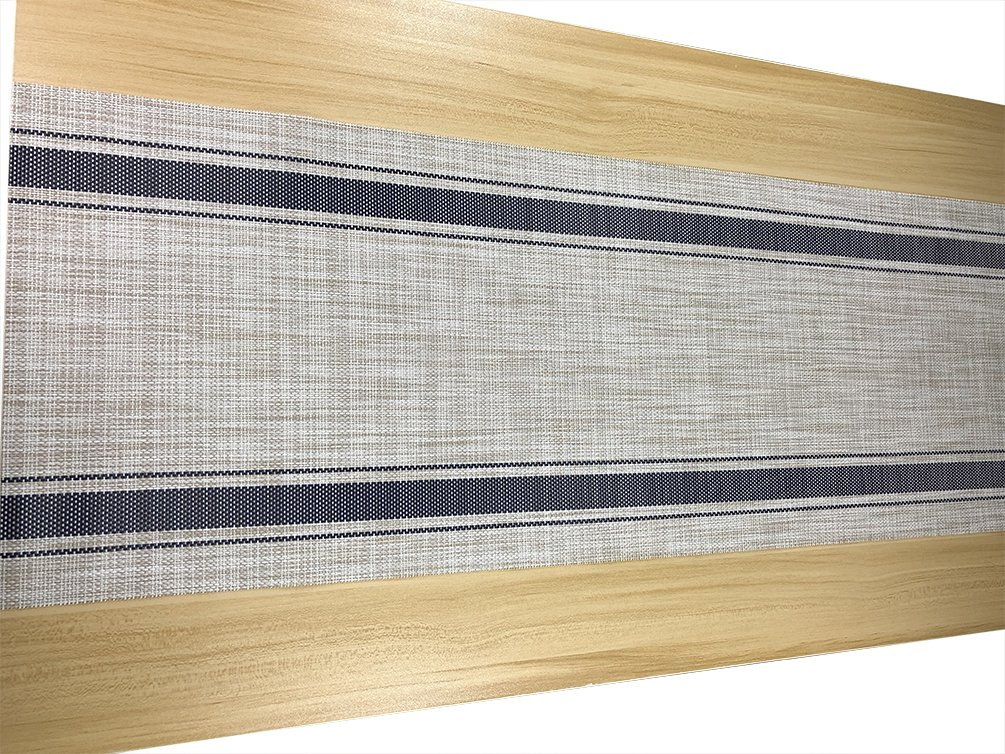 KOOMAGIC 11.8''x53'' Table Runner Striped Blue Kitchen Dining Hotel Washable Table Mats (Blue)