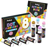 Kids Washable Dot Markers | New 8 Shimmer Colors Set with Free Activity Book | Water-Based Non Toxic Paint Daubers for Toddlers & Preschoolers