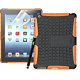 iPad 2/3/4 - Heavy Duty Tough Rugged Shockproof Bumper Armour Hybrid Kickstand Hard Case Cover + Free Screen Protector + Free Stylus (Orange)