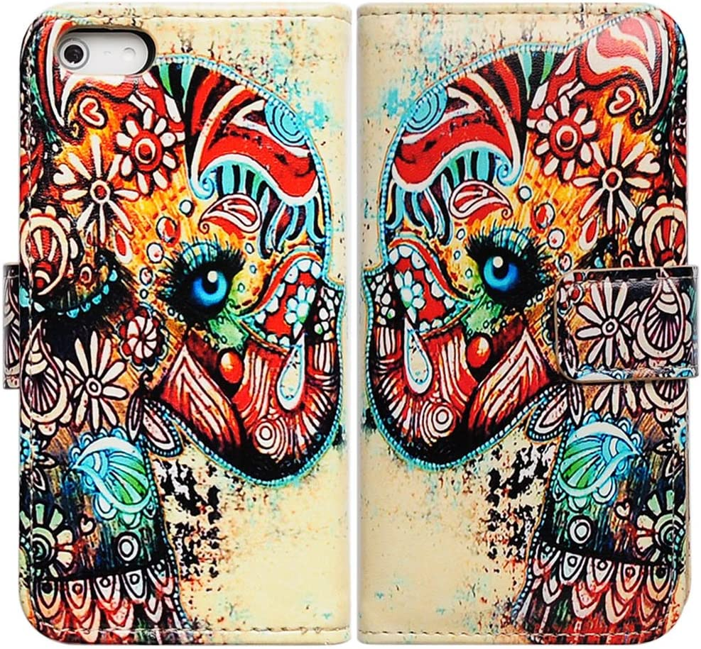 Bfun Packing Colorful Floral Elephant Card Slot Wallet Leather Cover Case For iPhone 5 5G 5S AT&T Verizon Sprint