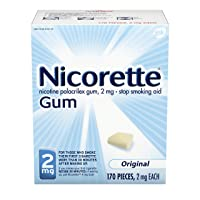 Nicorette 2mg Nicotine Gum to Quit Smoking - Original Unflavored Stop Smoking Aid, 170 Count