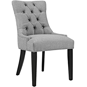 Modway Regent Modern Tufted Upholstered Fabric Kitchen and Dining Room Chair with Nailhead Trim in Light Gray