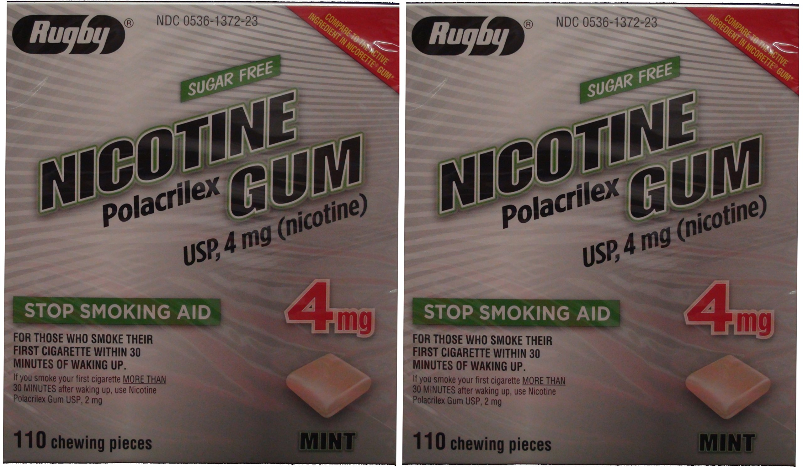 Nicotine Gum 4mg Sugar Free Mint Generic for Nicorette 110 Pieces per Box Pack of 2 Total 220 Pieces