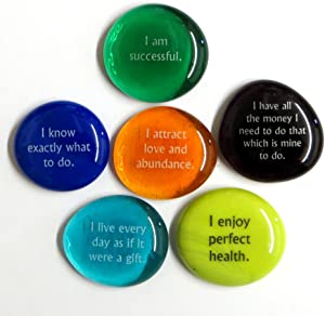 Lifeforce Glass Affirmation Glass Stones, Positive, Encouraging Statements on Glass Stones to Help You Achieve Your Goals Affirmations Really Work. Set II