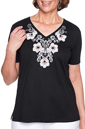 Alfred Dunner Women s Barcelona Applique Yoke Knit Top (Small) at ... 6876d3c01