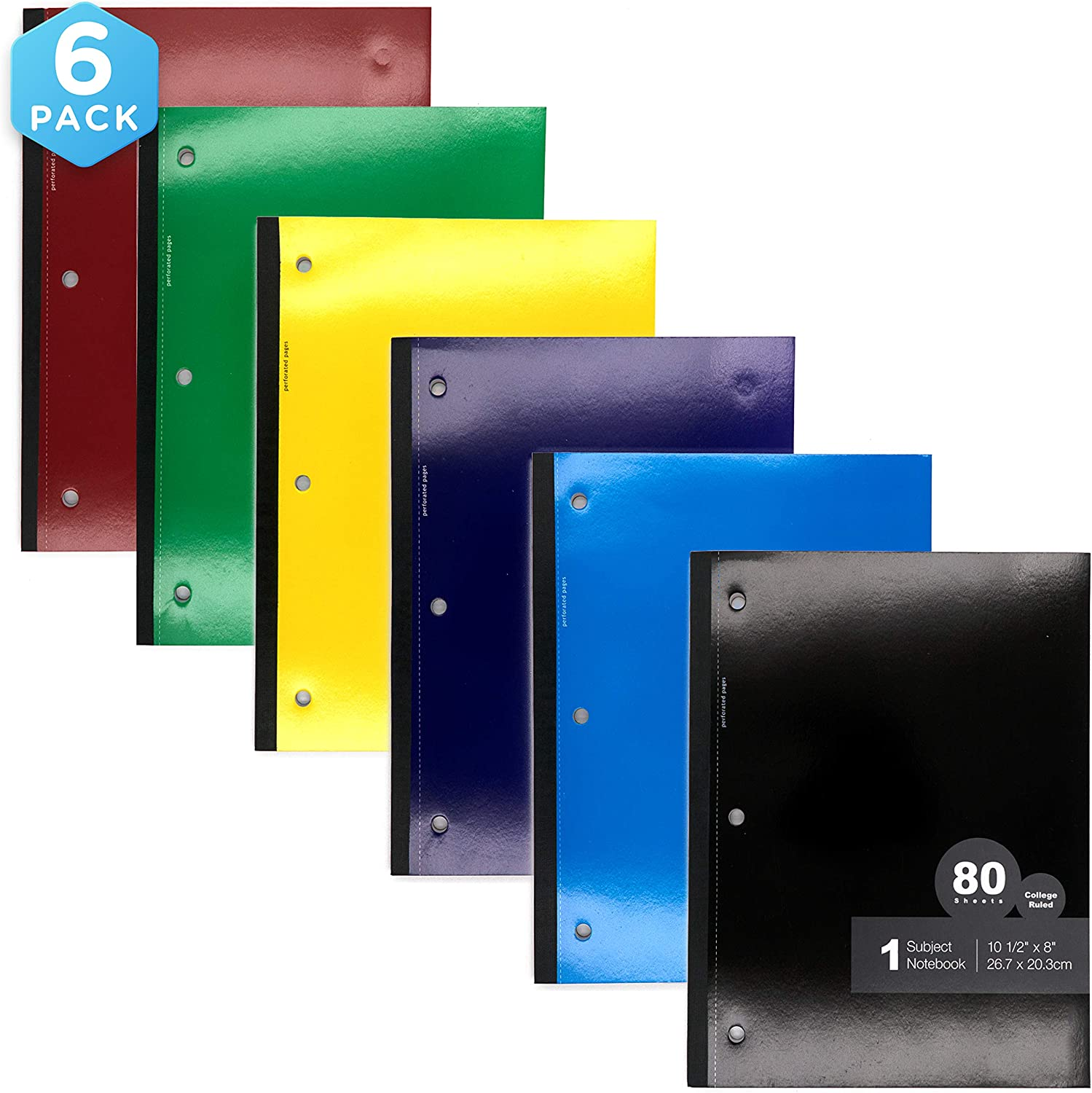 Emraw Wireless Notebook 80 Sheets 3 Hole College Ruled Meeting Notebook Durable Laminated Cover Reversible Assorted Color Double Sided Paper Small Notebook (6-Pack)