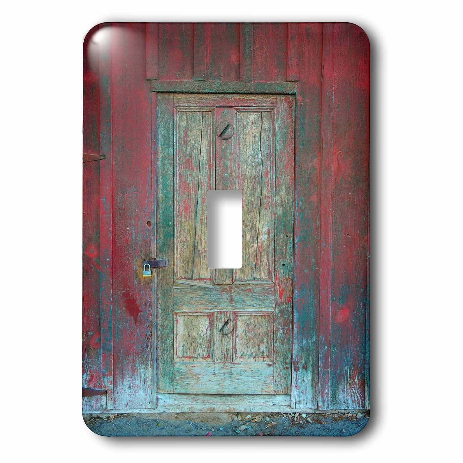 3dRose LSP_264386_1 Image of Aged Rustic Red Wooden Door Toggle Switch, Mixed