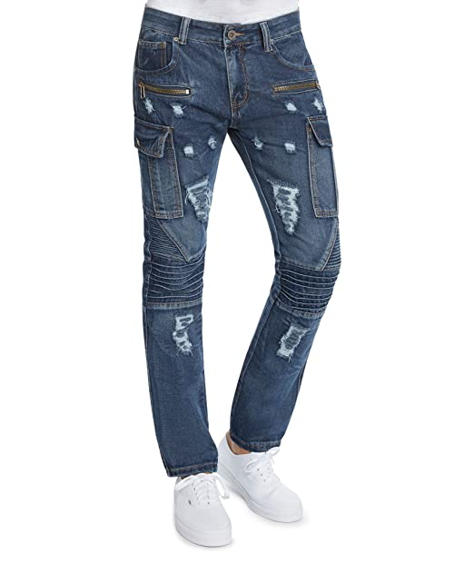 5cc59526f0b6ba Mens Slim FIt Distressed Moto Zipper Cargo Jeans by Trillnation-30 X 30